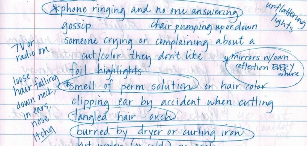 Notebook entry about trip to hair salon