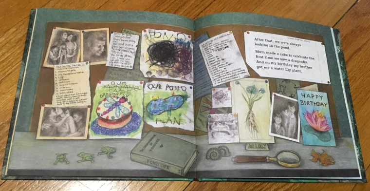 One spread from THE POND by Nicola Davies, illustrated by Cathy Fisher
